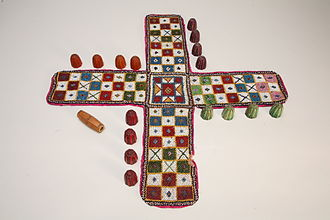 Pachisi - A beaded Pachisi game, The Children's Museum of Indianapolis