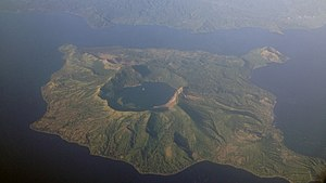 Taal Volcano - Aerial photo of Taal Volcano; North is on right-hand side of photo.