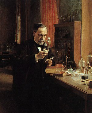 Louis Pasteur in his laboratory, painting by A. Edelfeldt in 1885.
