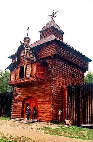 Ostrog (fortress) - The tower of Ilimsky ostrog, now in Taltsy Museum in Irkutsk, Siberia.