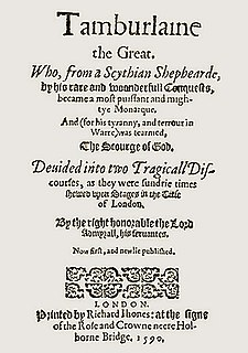 Title page of the earliest published edition of Tamburlaine (1590) Tamburlaine title page.jpg
