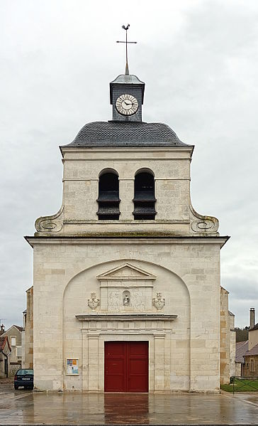 Facade of Saint-Sylvestre church in Tanlay, France