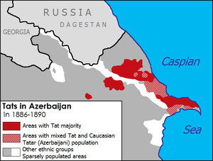 Tat people (Caucasus) - Distribution of the Tats in Azerbaijan (then Baku Governorate, part of the Russian Empire) in 1886–1890.