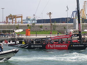 Team New Zealand - NZL-92 returning to port in Valencia during the America's Cup regatta