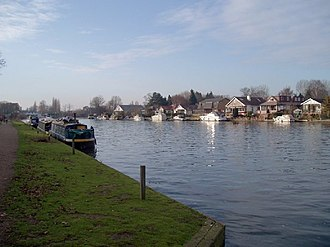 Walton-on-Thames - Barges moored by the towpath – Walton Marina in the background