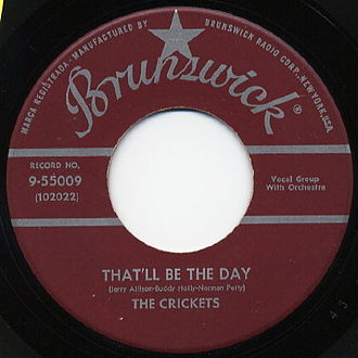 Brunswick Records - During the 1950s, the artists on Brunswick and Coral were interchangeable. This single by Buddy Holly and the Crickets, who were signed to Coral, was released on Brunswick.