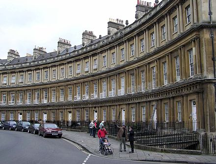 "Very grand terrace houses at The Circus, Bath (1754), with basement ""areas"" and a profusion of columns. The.circus.bath.arp.jpg"