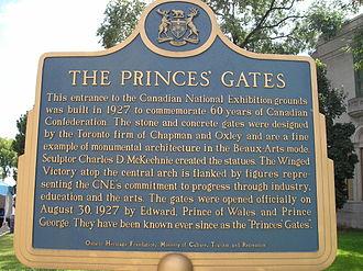 Princes' Gates - Image: The Princes Gates plaque Toronto CNE Grounds Sept 1 05