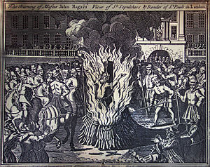 John Rogers (Bible editor and martyr) - Illustration in Foxe's Book of Martyrs of Rogers' execution at Smithfield
