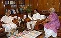 The Chief Minister of Kerala, Shri Oommen Chandy meeting the Union Minister for Railways, Shri D.V. Sadananda Gowda, in New Delhi on July 03, 2014. The Minister of State for Railways, Shri Manoj Sinha is also seen.jpg
