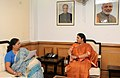 The Chief Minister of Rajasthan, Smt. Vasundhara Raje meeting the Union Minister for Human Resource Development, Smt. Smriti Irani, in New Delhi on June 12, 2015.jpg