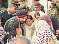 The Chief of Army Staff, General Bikram Singh and his wife Mrs. Babble Singh interact with the family members of lance Naik Hemraj, at village Shernagar, near Mathura on January 16, 2013.jpg