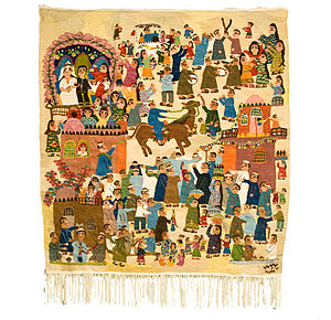 Ramses Wissa Wassef - Wedding in the Village — woven in 2007 at the Art Centre by Basima Mohamed. Collection of The Children's Museum of Indianapolis.