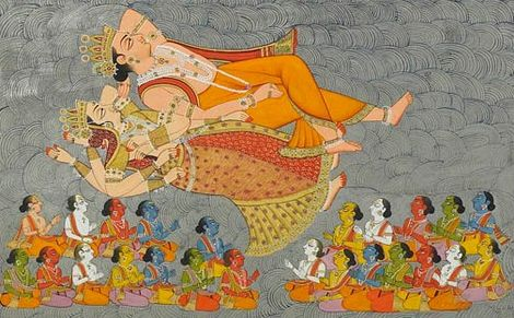 The Creation of the Cosmic Ocean and the Elements (detail), folio 3 from the Shiva Purana, c. 1828.jpg