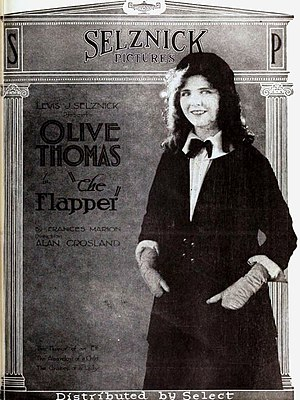 Flapper - An advertisement for the 1920 silent film comedy The Flapper, with Olive Thomas, before the look of the flapper had started to come together.