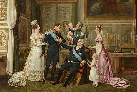 The House of Bourbon in 1823. From left to right: Marie-Therese Charlotte, Madame Royale; Louis-Antoine, Duke of Angouleme; Prince Henri de Bourbon; Charles-Philippe, Count of Artois; Louis XVIII of France; Princess Louise-Marie-Therese d'Artois; Marie-Caroline, Duchess of Berry The French Royal family in 1823.jpg