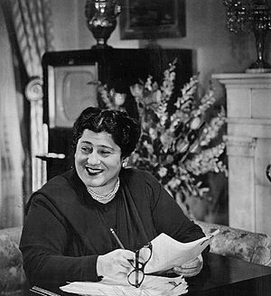 Gertrude Berg - Berg working on television scripts by hand in pencil in 1950.