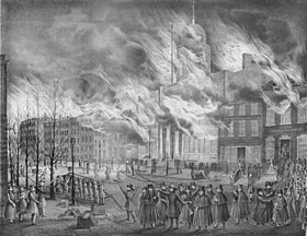 Image du Grand Incendie de New York (avril 1836).