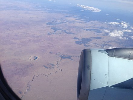 The Meteor Crater from 36,000 ft (11,000 m) The Meteor Crater from 36,000 feet.JPG
