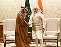 The Minister of Energy, Industry and Mineral Resources, Kingdom of Saudi Arabia, Mr. Khalid Al-Falih calls on the Prime Minister, Shri Narendra Modi, in New Delhi on February 23, 2018.jpg