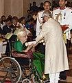 The President, Shri Pranab Mukherjee presenting the Padma Shri Award to Smt. Parassala B. Ponnammal, at the Civil Investiture Ceremony, at Rashtrapati Bhavan, in New Delhi on April 13, 2017.jpg