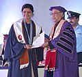 The President, Shri Pranab Mukherjee presenting the degree to a student, at the First Convocation of the Nalanda University, at Rajgir, in Bihar on August 27, 2016.jpg