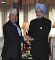 The Prime Minister, Dr. Manmohan Singh with the Prime Minister of Nepal, Shri Madhav Kumar Nepal at the bilateral meeting, on the sidelines of SAARC Summit, in Thimphu, Bhutan on April 29, 2010.jpg
