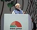 The Prime Minister, Shri Narendra Modi addressing the India-Japan Annual Summit, in Mahatma Mandir, Gandhinagar, Gujarat on September 14, 2017 (1).jpg