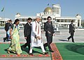 The Prime Minister, Shri Narendra Modi being welcomed by the President of Turkmenistan, Mr. Gurbanguly Berdimuhamedov, at Independence Square, in Oguzkhan Palace, Ashgabat, Turkmenistan on July 11, 2015 (2).jpg
