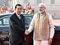 The Prime Minister, Shri Narendra Modi with the Prime Minister of the Kingdom of Cambodia, Mr. Samdech Akka Moha Sena Padei Techo Hun Sen, during the Ceremonial Reception, at Rashtrapati Bhavan, in New Delhi.jpg