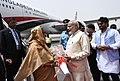 The Prime Minister of Bangladesh, Ms. Sheikh Hasina being received by the Prime Minister, Shri Narendra Modi, on her arrival, at Air Force Station Palam, in New Delhi.jpg