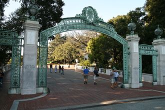 Sather Gate, connecting Sproul Plaza to the inner campus, was a center of the Free Speech Movement. The Sather Gate.jpg