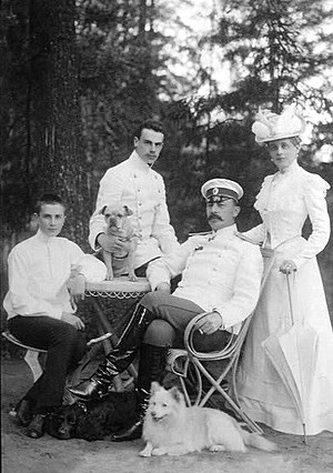 Felix Yusupov - The Yusupov family in 1901: Prince Felix, Prince Nicholas, Count Felix Felixovich Sumarkov-Elston and Princess Zinaida.