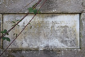 Robert Dundas, 2nd Viscount Melville - The simple monument to Robert Dundas, 2nd Viscount Melville, Dundas vault, Old Lasswade Kirkyard