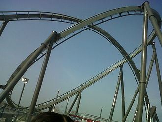 The Swarm (roller coaster) - The inclined loop and corkscrew featured in the ride