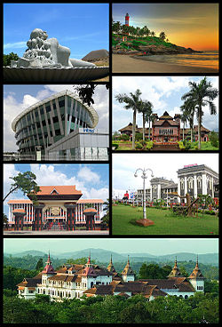Clockwise from top right: Kovalam Beach, Napier Museum, Trivandrum Central,  Kowdiar Palace, Niyamasabha Mandiram,Infosys Building, The Sculpture of Jalakanyaka Mermaid