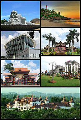 Clockwise, from top: Sagarakanyaka (The Mermaid), Kovalam Beach, Napier Museum, Trivandrum Central, Kowdiar Palace, Niyamasabha Mandiram, Infosys.