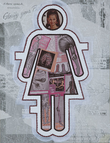 File:This is a digital collage on canvas with hand and machine embroidery by visual feminist artist Marilyn Artus.jpg