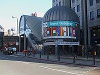 Tower Gateway DLR stn entrance 2009.JPG