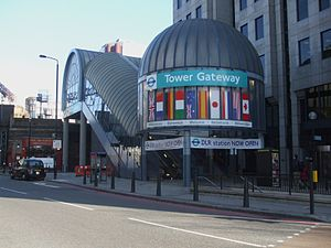 Tower Gateway DLR station - Image: Tower Gateway DLR stn entrance 2009