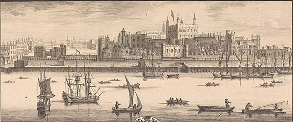 An engraving of the Tower of London in 1737 by Samuel and Nathaniel Buck Tower of London, south, Buck brothers.jpg