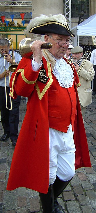 Town crier - Peter Moore, the late Town crier to the Mayor of London and The Greater London Authority.