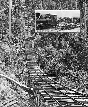 Cangai Copper Mine - Tramway at Cangai Copper Mine and O&K loco (insert), 1910-17