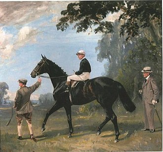 Tranquil (horse) - Tranquil with trainer, George Lambton and jockey Tommy Weston by Lynwood Palmer. (1923)