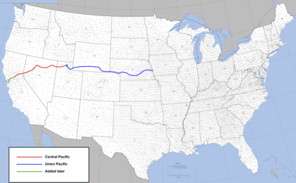 Route of the first transcontinental railroad across the western United States (built, 1863-1869). Transcontinental railroad route.png