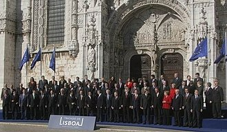 Jerónimos Monastery - The official picture taken after the signing of the Lisbon Treaty in front of the South Portal