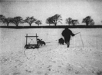 Cinema of Denmark - Screenshot from the 1897 film Kørsel med Grønlandske Hunde