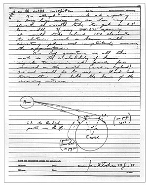 Communication Moon Relay - An entry in Trexler's notebook regarding moon bounce communications.