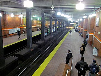 Tufts Medical Center station - Tufts Medical Center station viewed from the mezzanine