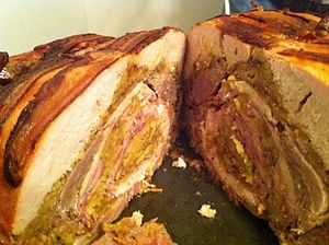 English: Cross-section of a turducken includin...